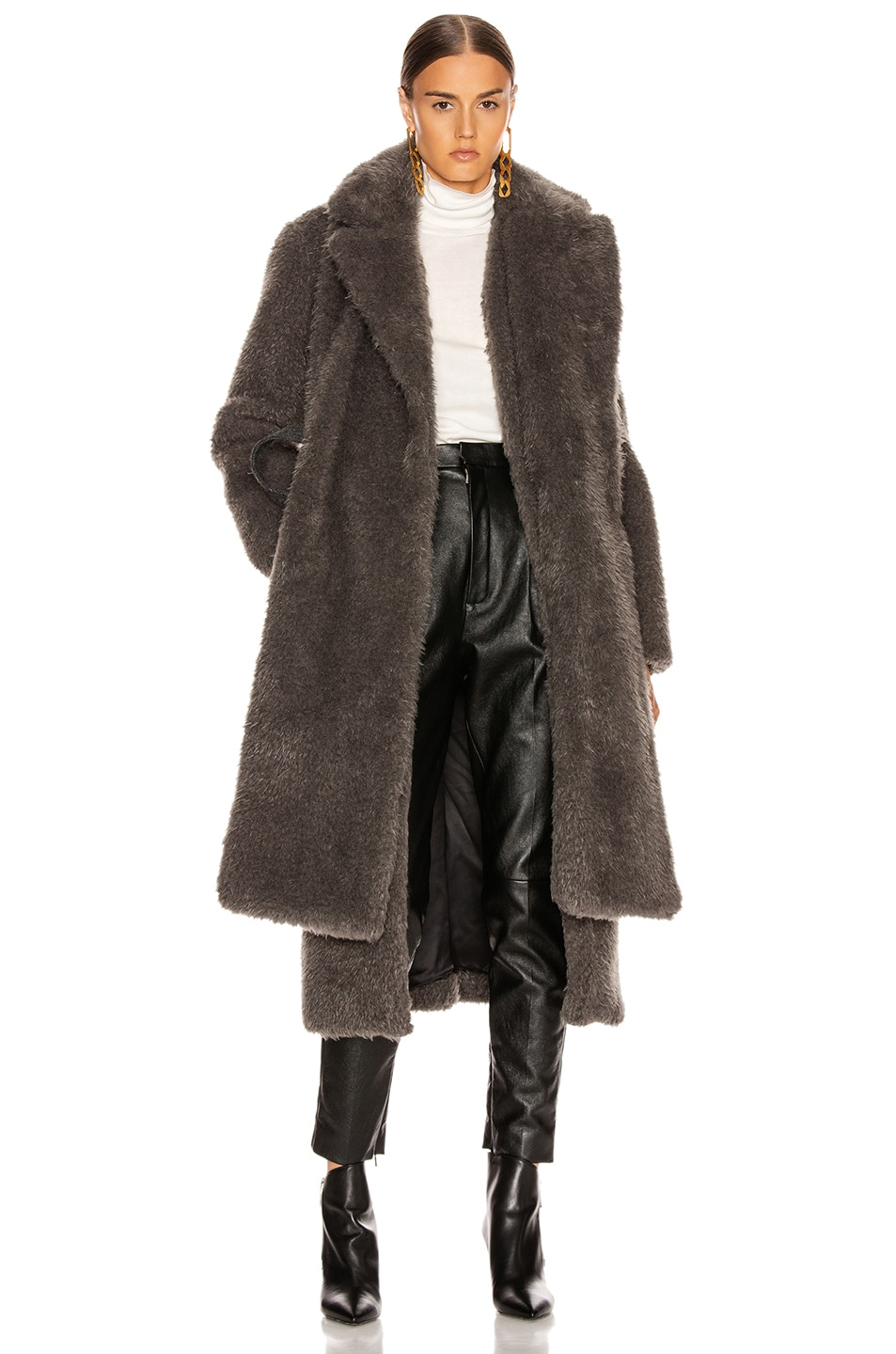 Image 2 of Helmut Lang Shaggy Faux Fur Belted Coat in Charcoal Melange