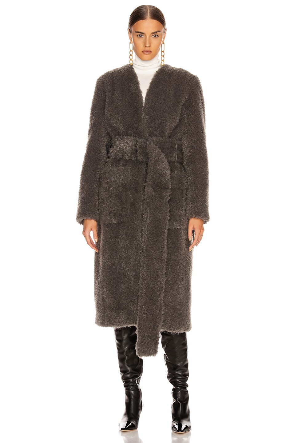 Image 3 of Helmut Lang Shaggy Faux Fur Belted Coat in Charcoal Melange