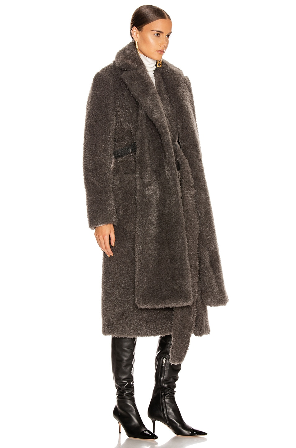 Image 4 of Helmut Lang Shaggy Faux Fur Belted Coat in Charcoal Melange