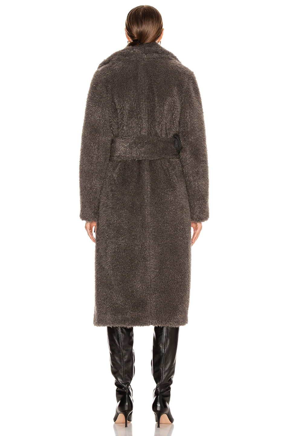 Image 5 of Helmut Lang Shaggy Faux Fur Belted Coat in Charcoal Melange