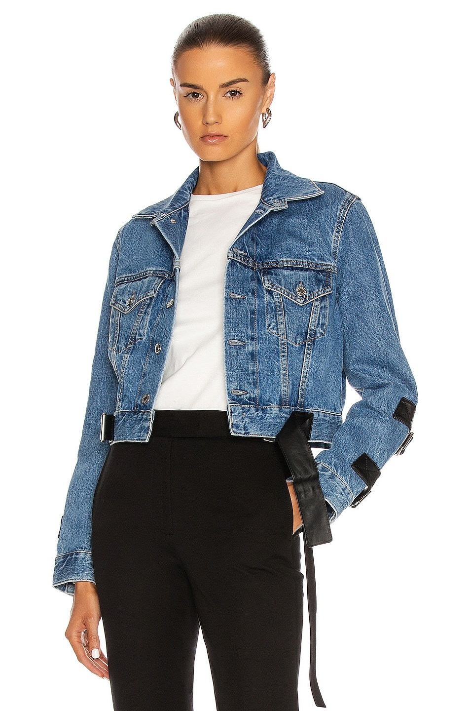 Image 1 of Helmut Lang Strap Trucker Jacket in Hi Contrast