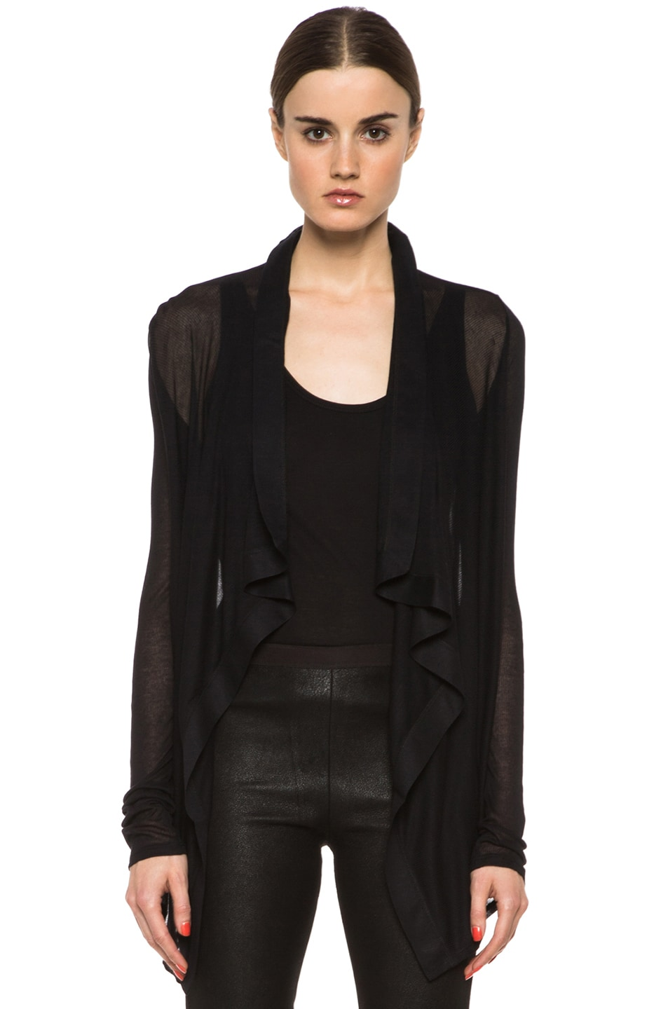 Image 1 of HELMUT Drape Front Micro Modal Cardigan in Black