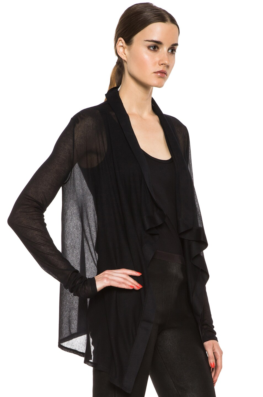 Image 3 of HELMUT Drape Front Micro Modal Cardigan in Black