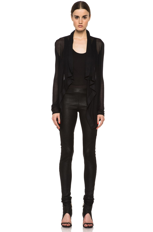 Image 5 of HELMUT Drape Front Micro Modal Cardigan in Black