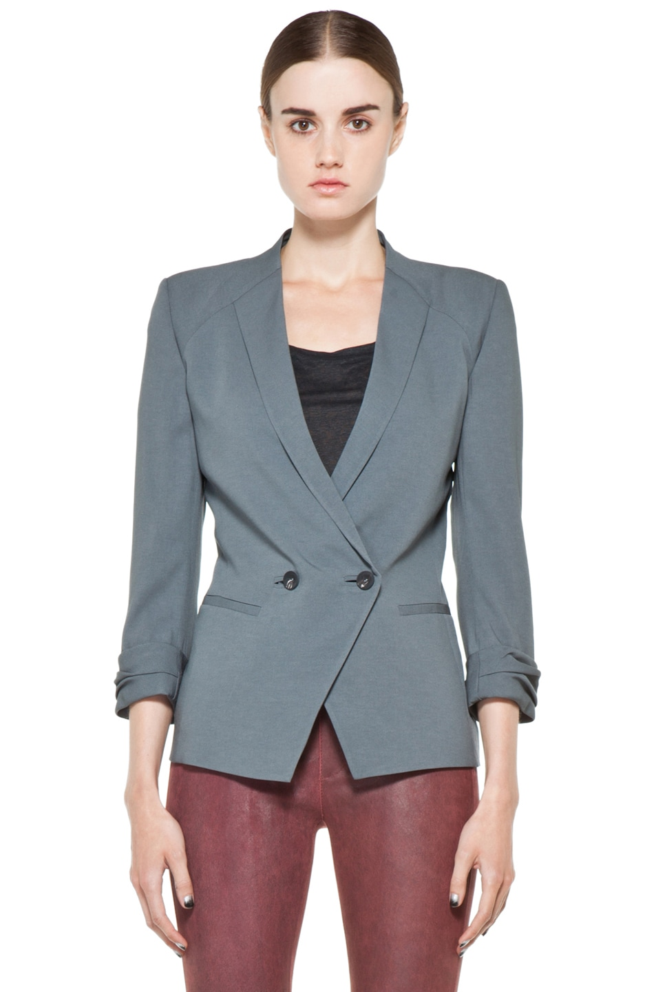 Image 1 of Helmut Lang Silica Crepe Roll Up Sleeve Blazer in Blue Smoke