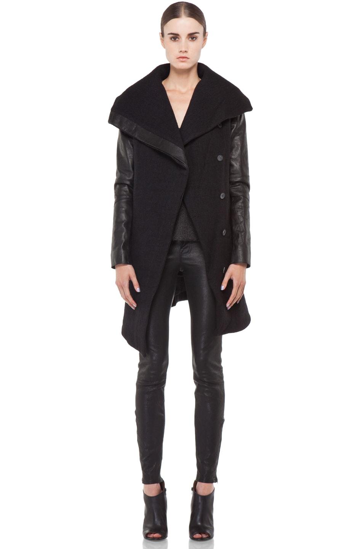 Image 1 of Helmut Lang Willowed Felt Coat in Black