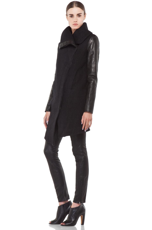 Image 3 of Helmut Lang Willowed Felt Coat in Black