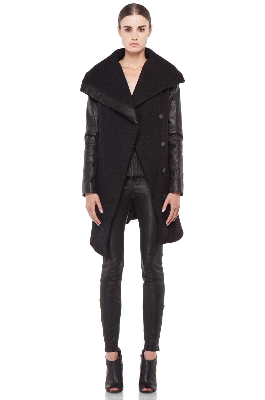Image 6 of Helmut Lang Willowed Felt Coat in Black