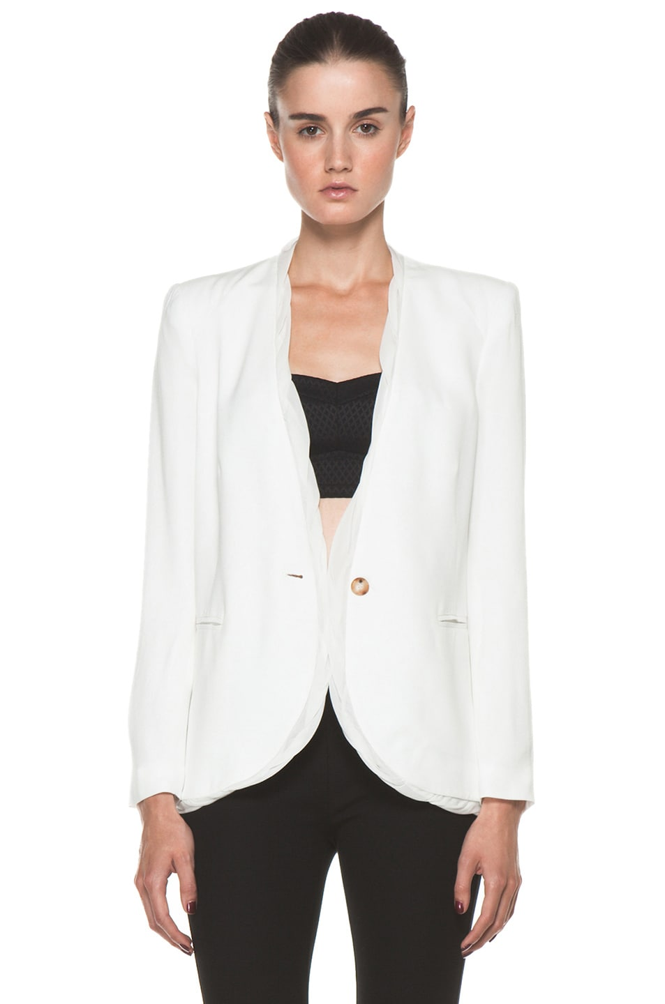 Image 1 of Helmut Lang Relic Twist Viscose Blazer in Soft White