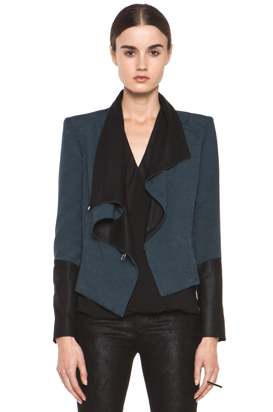 Image 1 of Helmut Lang Perma Jacquard Sleeve Combo Jacket in Dusty Sapphire