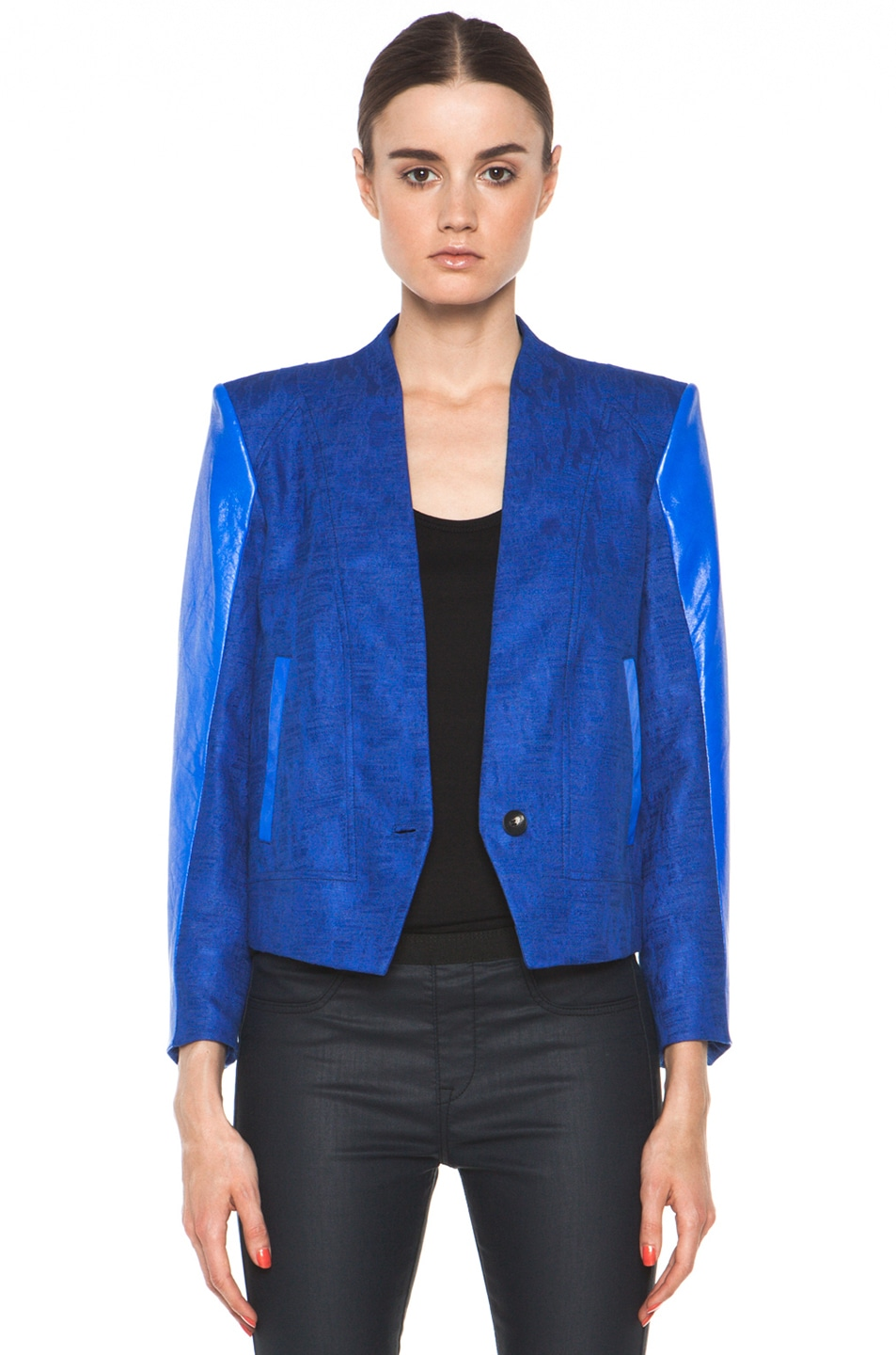 Image 1 of Helmut Lang Cropped Jacket in Maritime