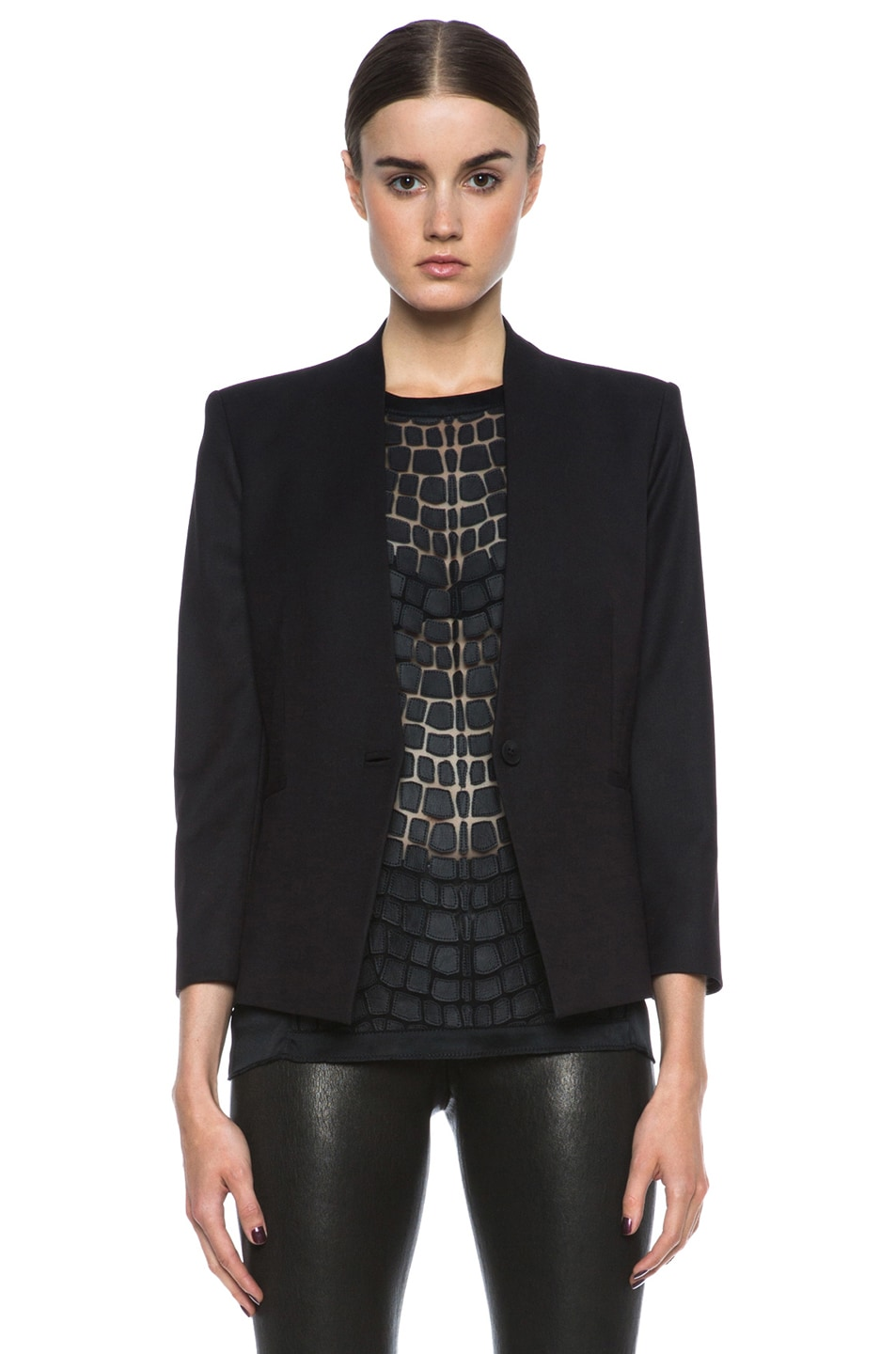Image 1 of HELMUT Reflect 3/4 Sleeve Poly-Blend Blazer in Black