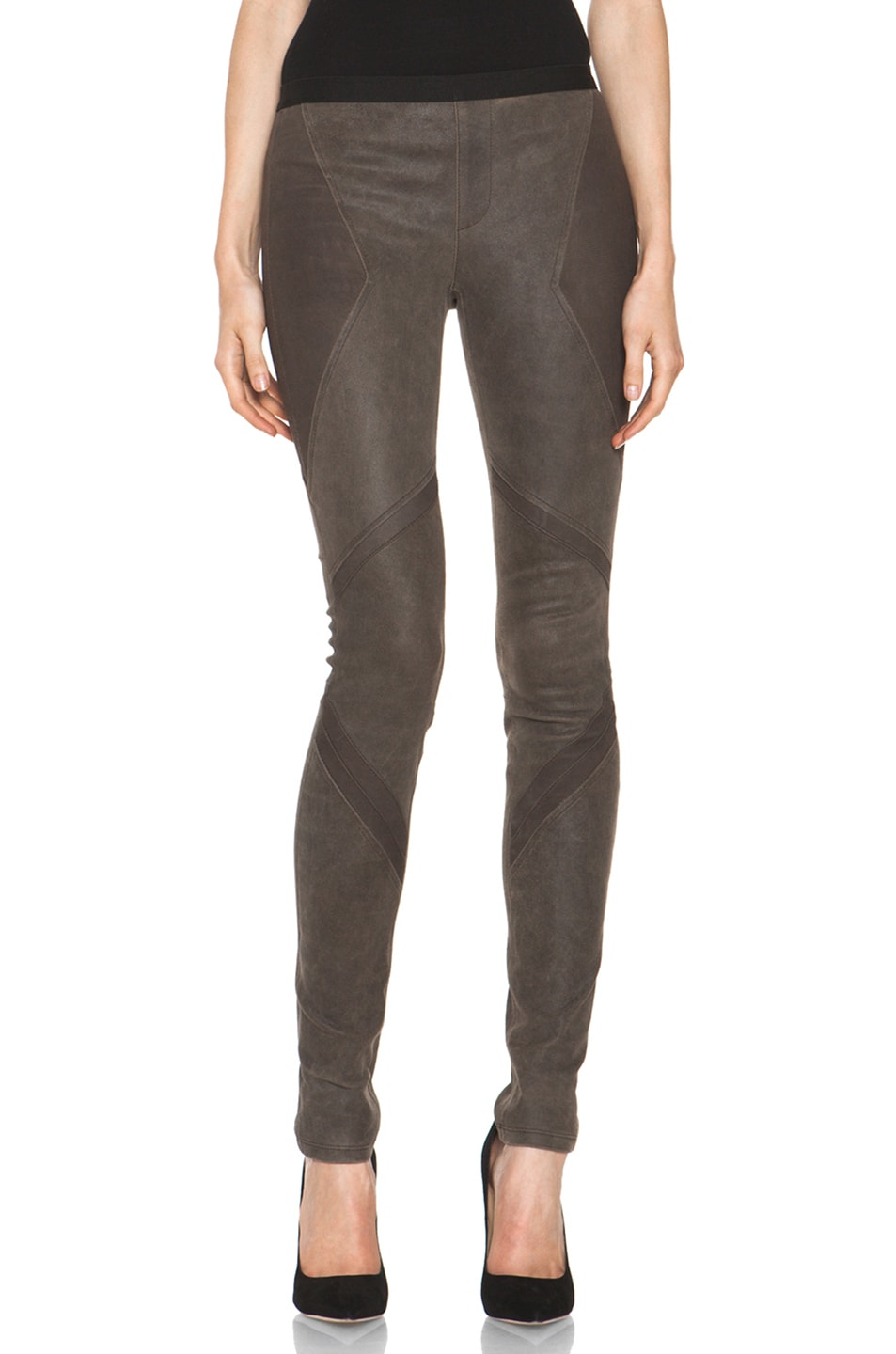 Image 1 of Helmut Lang Patina Stretch Cheyenne Leather Armor Legging in Deer