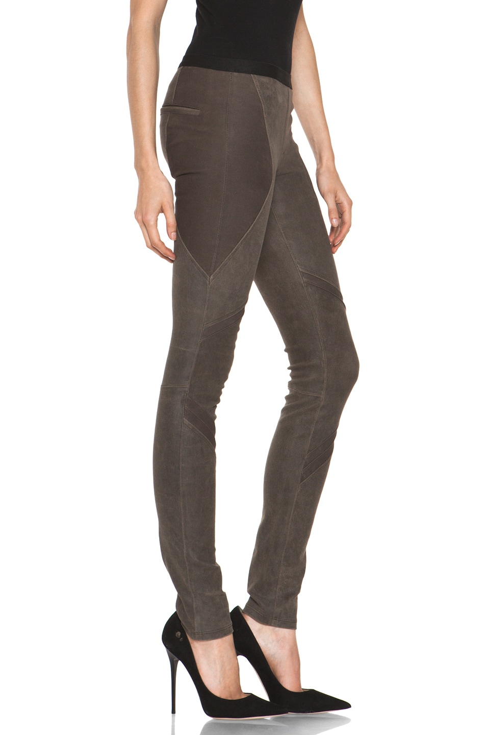 Image 3 of Helmut Lang Patina Stretch Cheyenne Leather Armor Legging in Deer