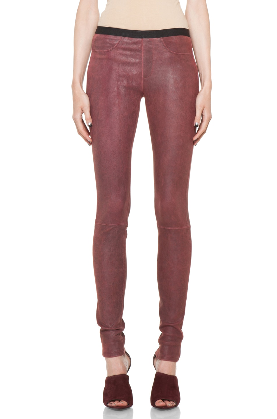 Image 1 of Helmut Lang Patina Stretch Cheyenne Leather Legging in Fever