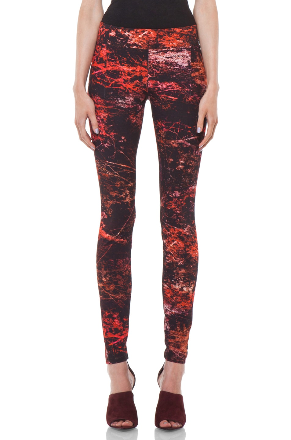 Image 1 of Helmut Lang Midnight Floral Reflex Legging in Red Multi