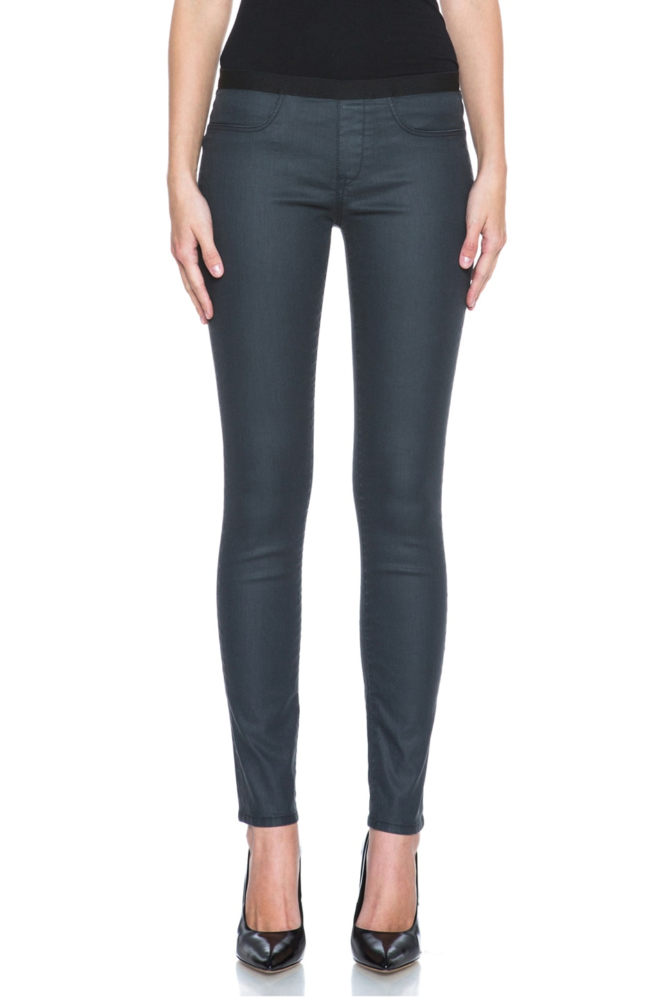 Image 1 of HELMUT Waxy Grey Wash Coated Jean Legging in Slate