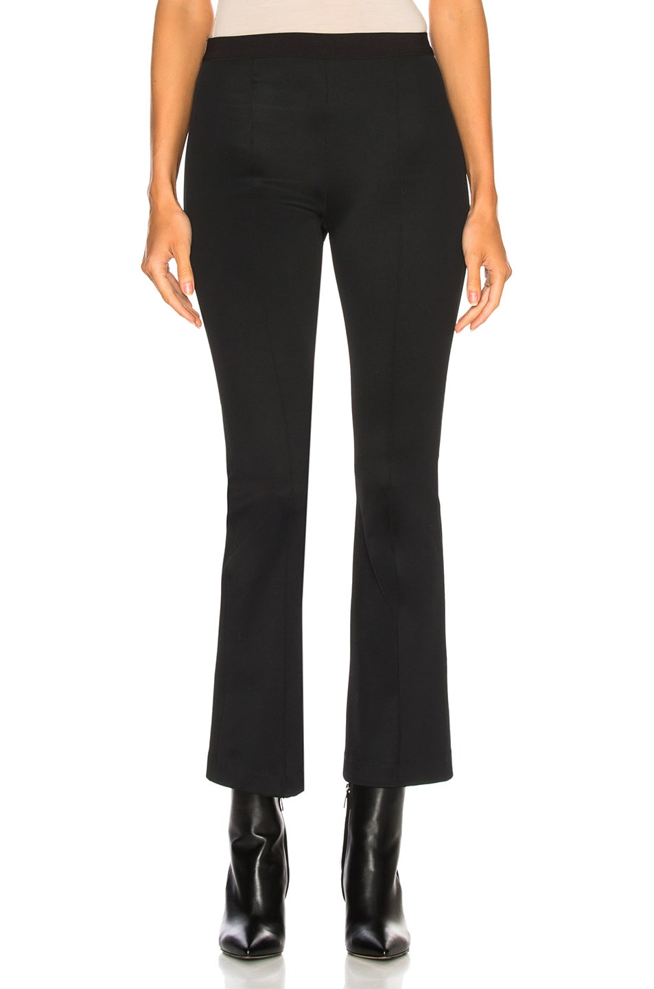 Image 1 of Helmut Lang Cropped Flare Rib Legging in Black