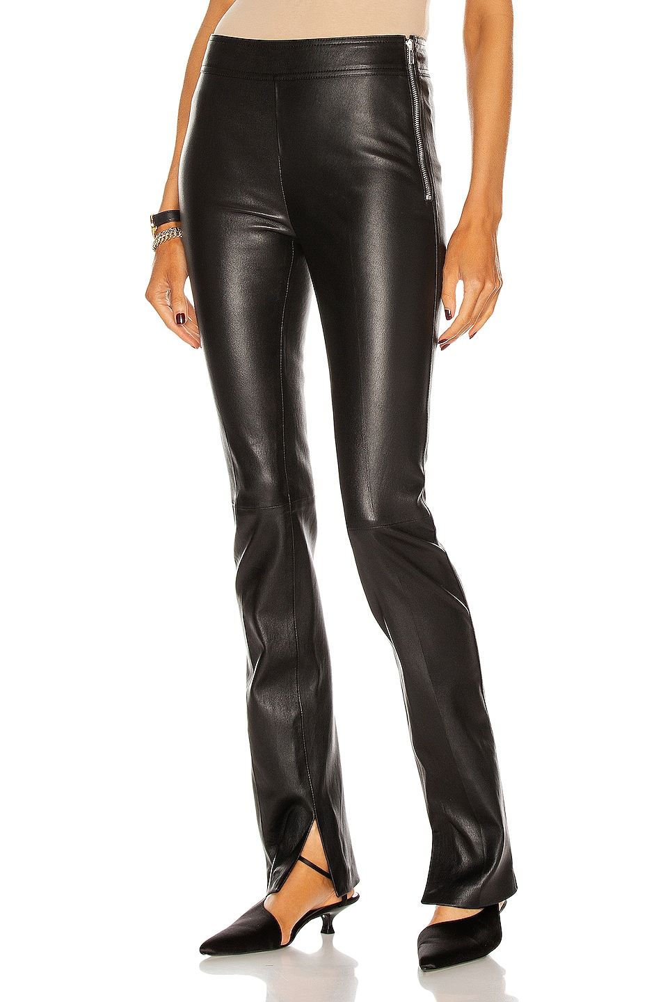 Image 1 of Helmut Lang Slit Leather Pant in Onyx