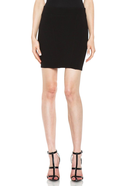 Image 1 of HELMUT Helmut Lang Gala Knit Zip Back Mini Skirt in Black