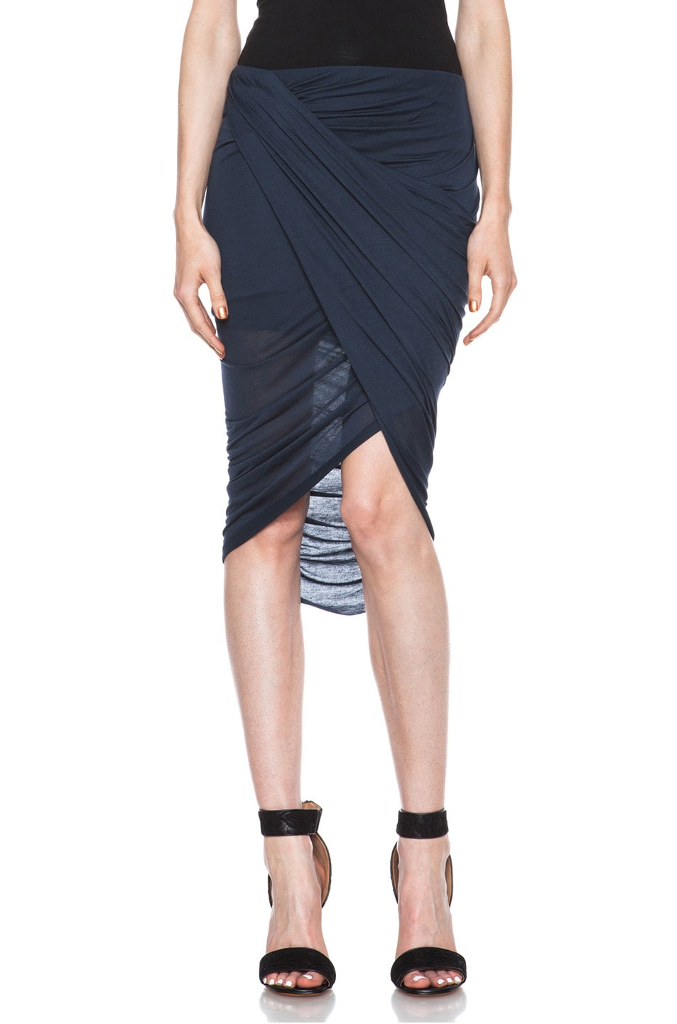 Image 1 of Helmut Lang Front Wrap Micro Modal Skirt in Blue Lapis