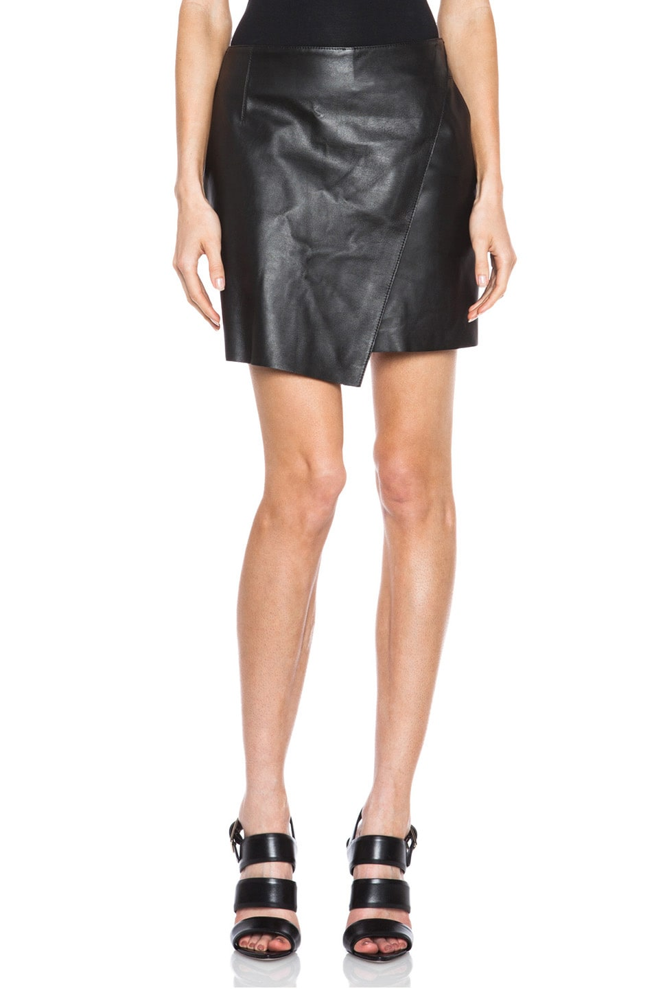 Image 1 of Helmut Lang Bonded Leather Skirt in Black