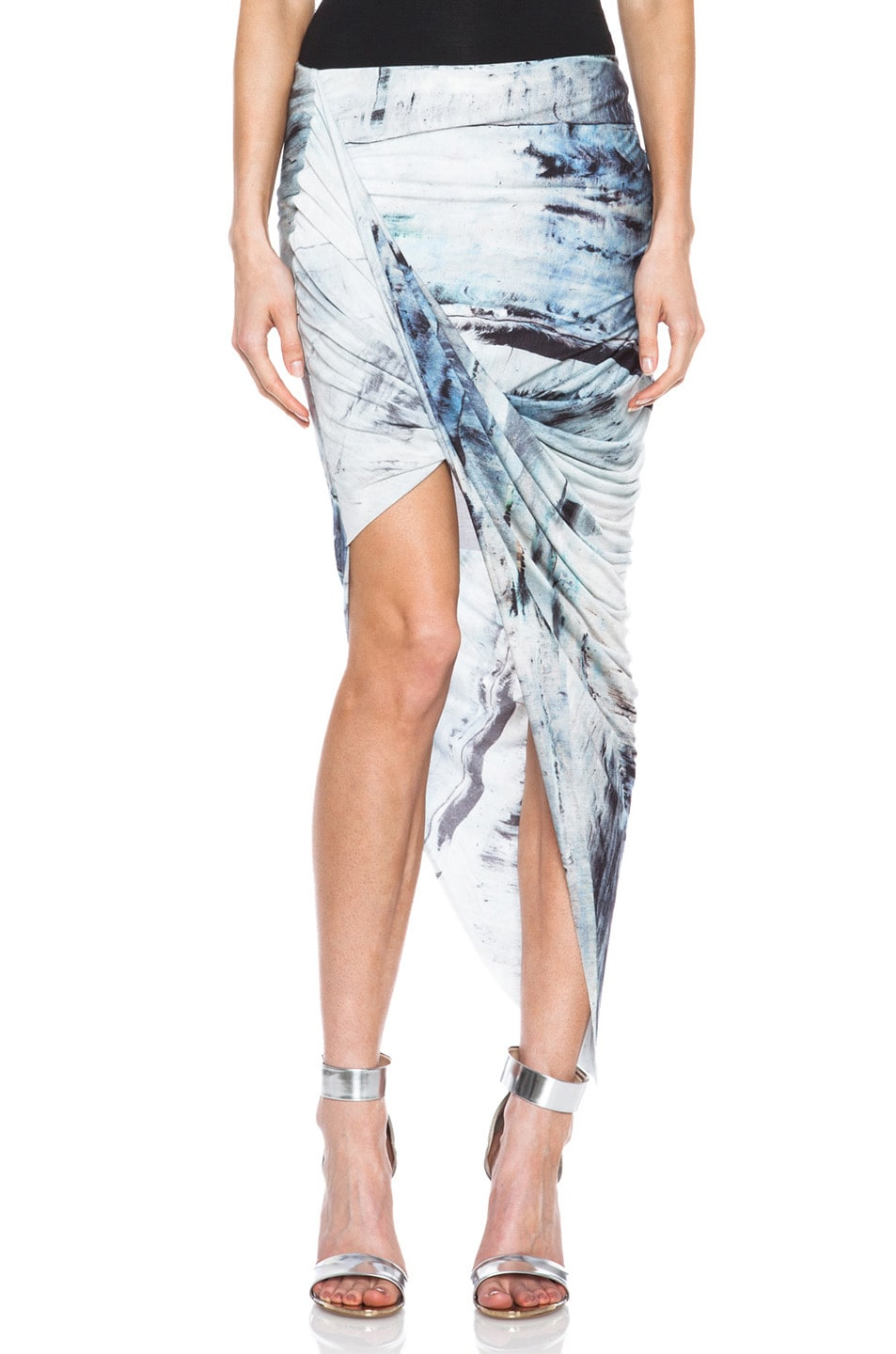 Image 1 of Helmut Lang Tidal Print Asymmetrical Wrap Viscose Skirt in Mercury Multi