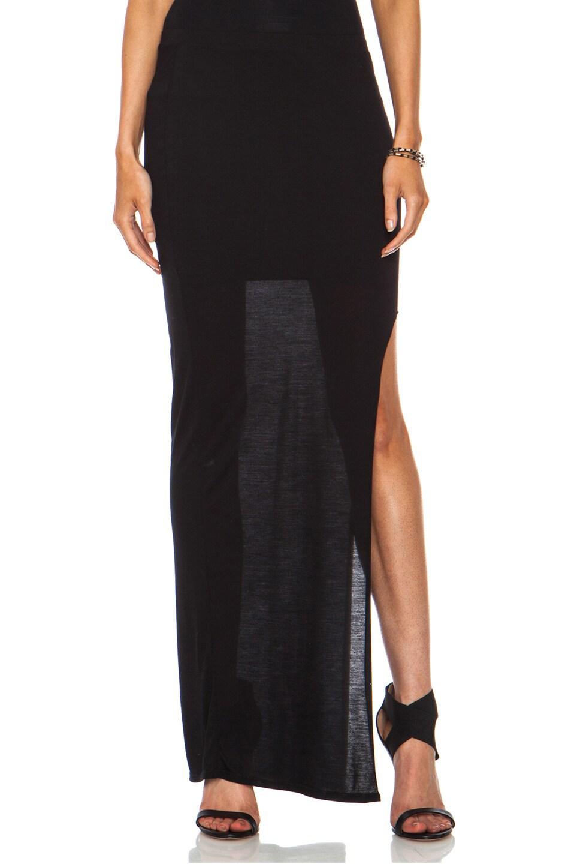 Image 1 of Helmut Lang Kinetic Micro Modal Jersey High Slit Skirt in Black