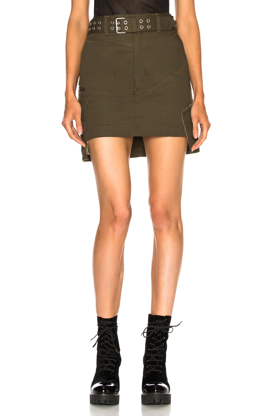 Image 1 of Helmut Lang Military Patch Skirt in Dark Peat