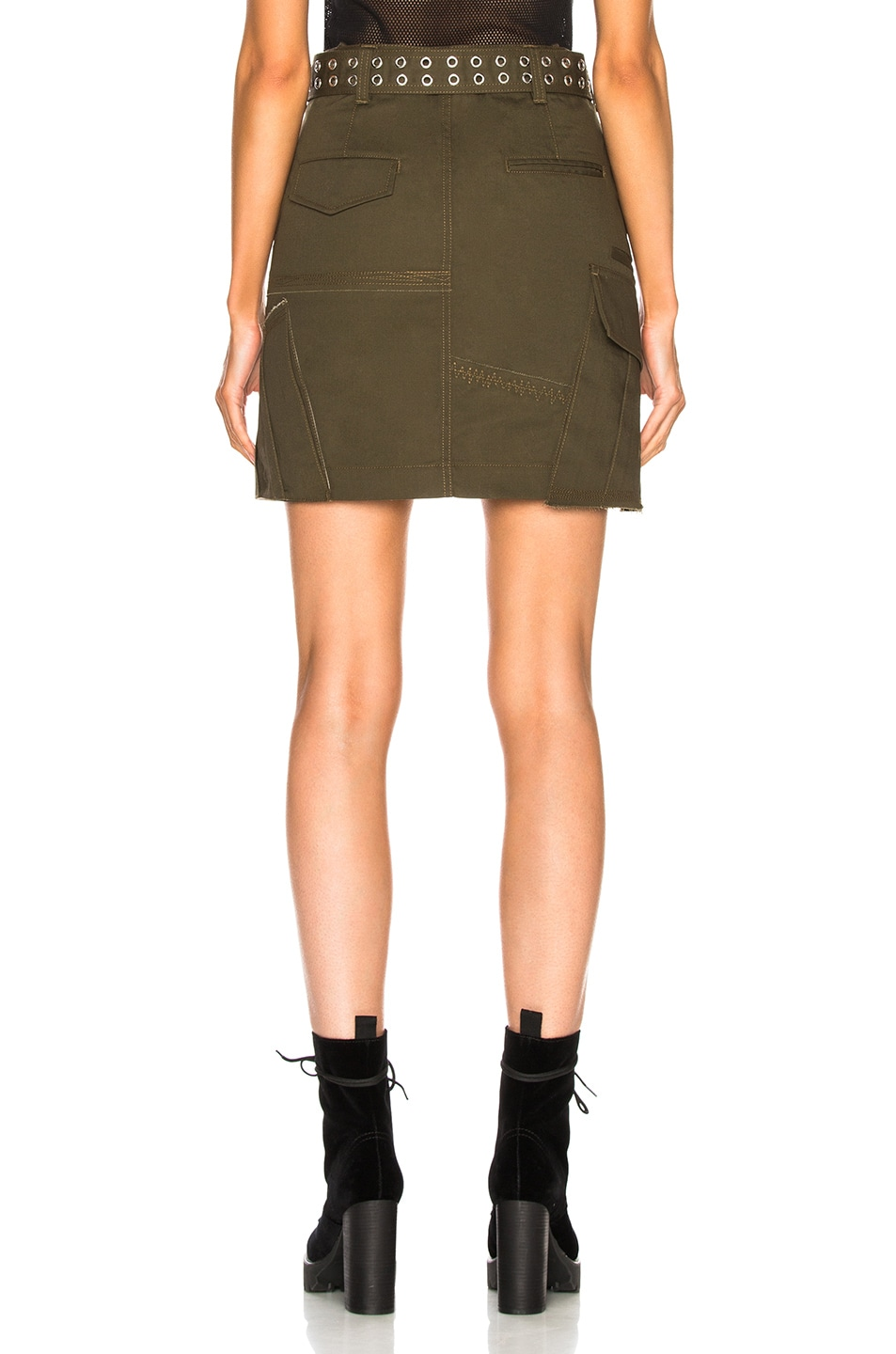 Image 3 of Helmut Lang Military Patch Skirt in Dark Peat