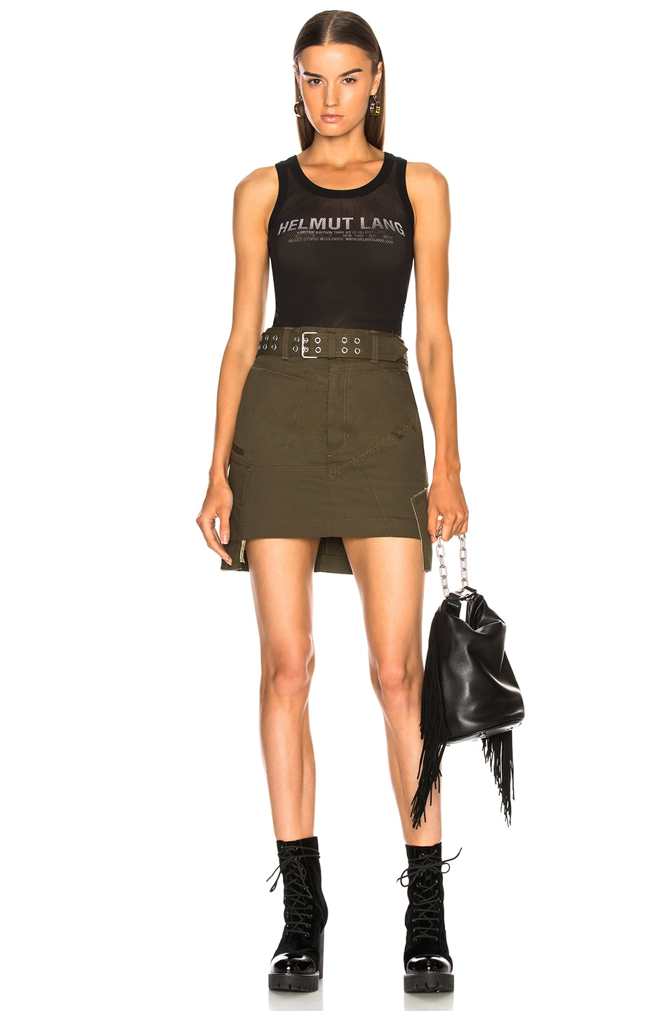 Image 4 of Helmut Lang Military Patch Skirt in Dark Peat
