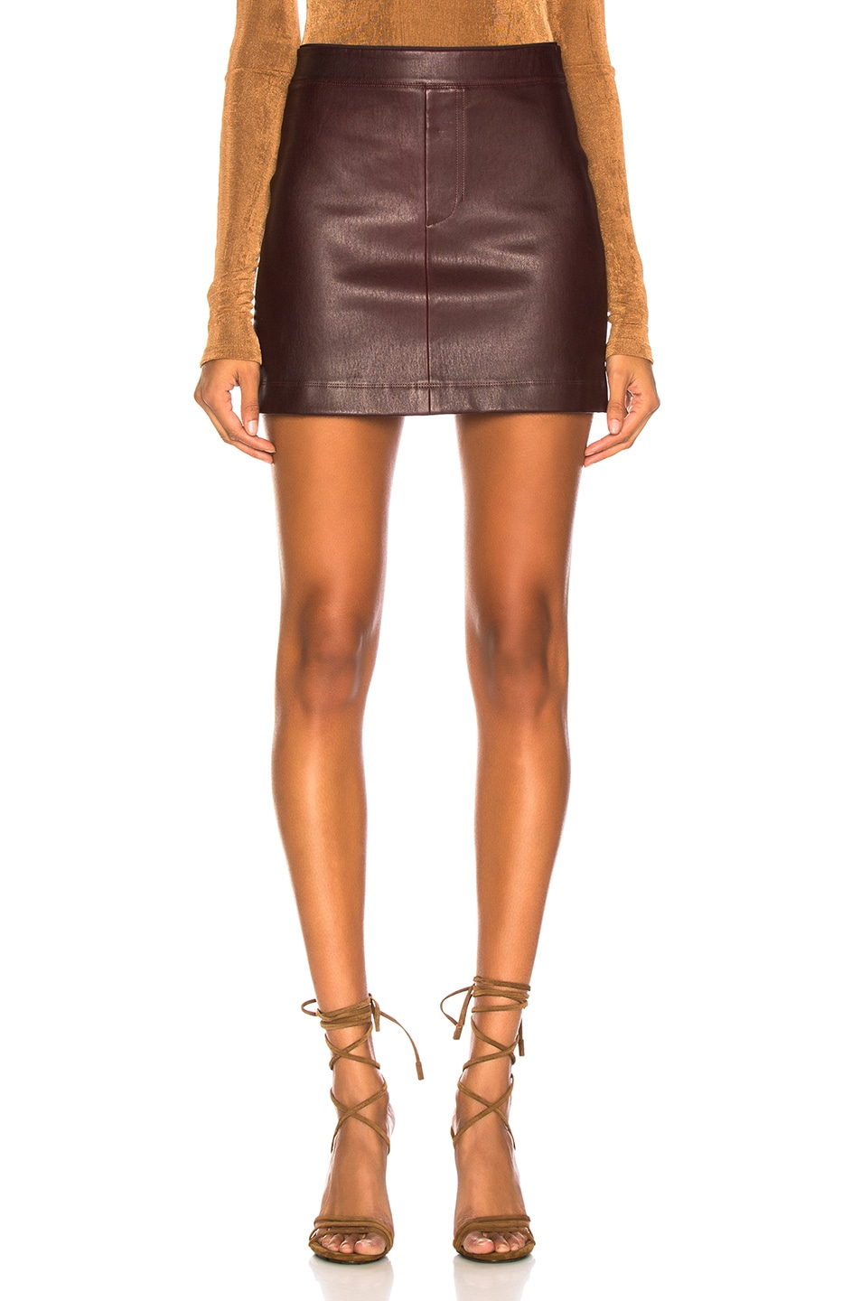 Image 1 of Helmut Lang Stretch Leather Mini Skirt in Wine