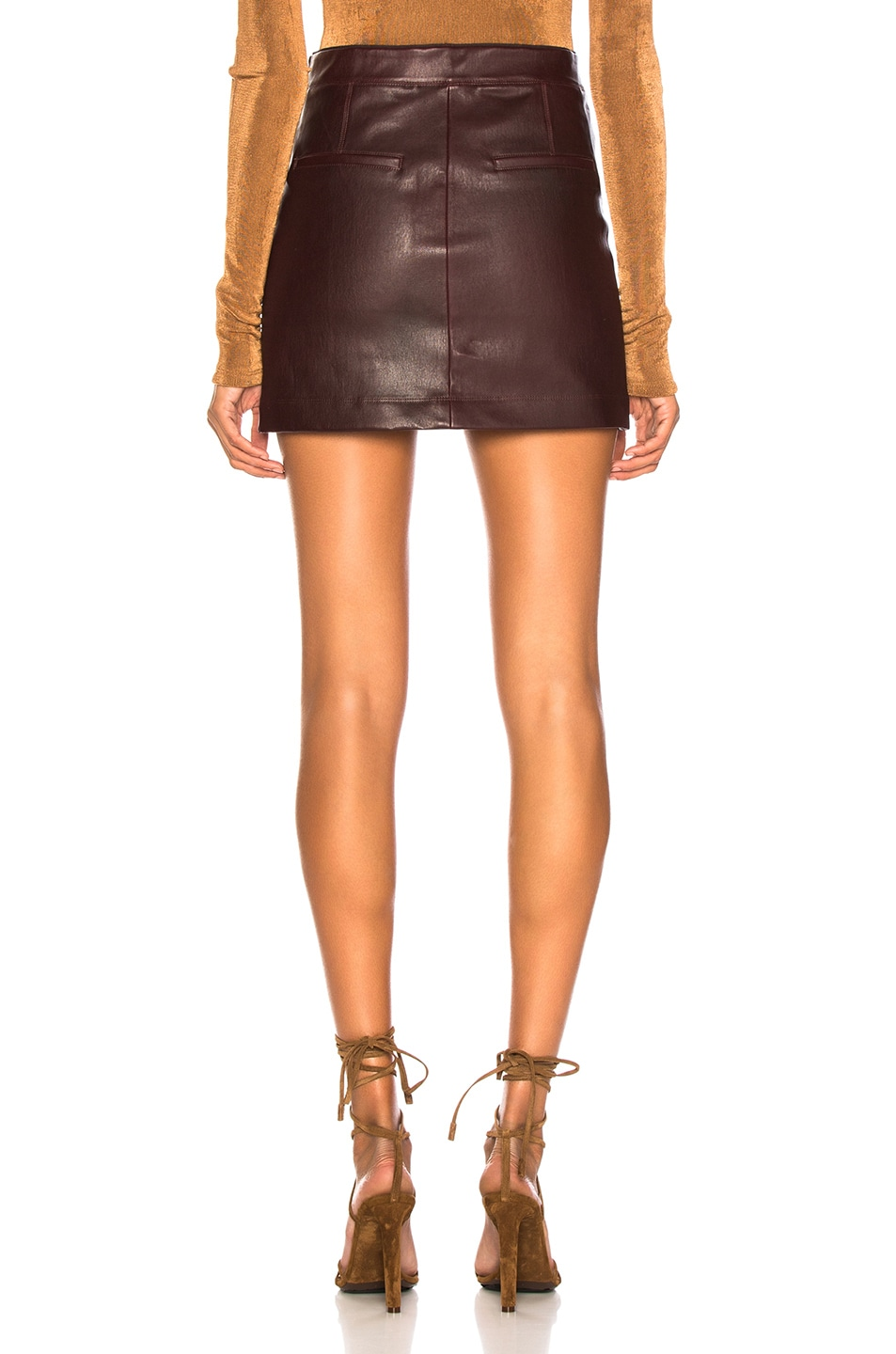 Image 3 of Helmut Lang Stretch Leather Mini Skirt in Wine