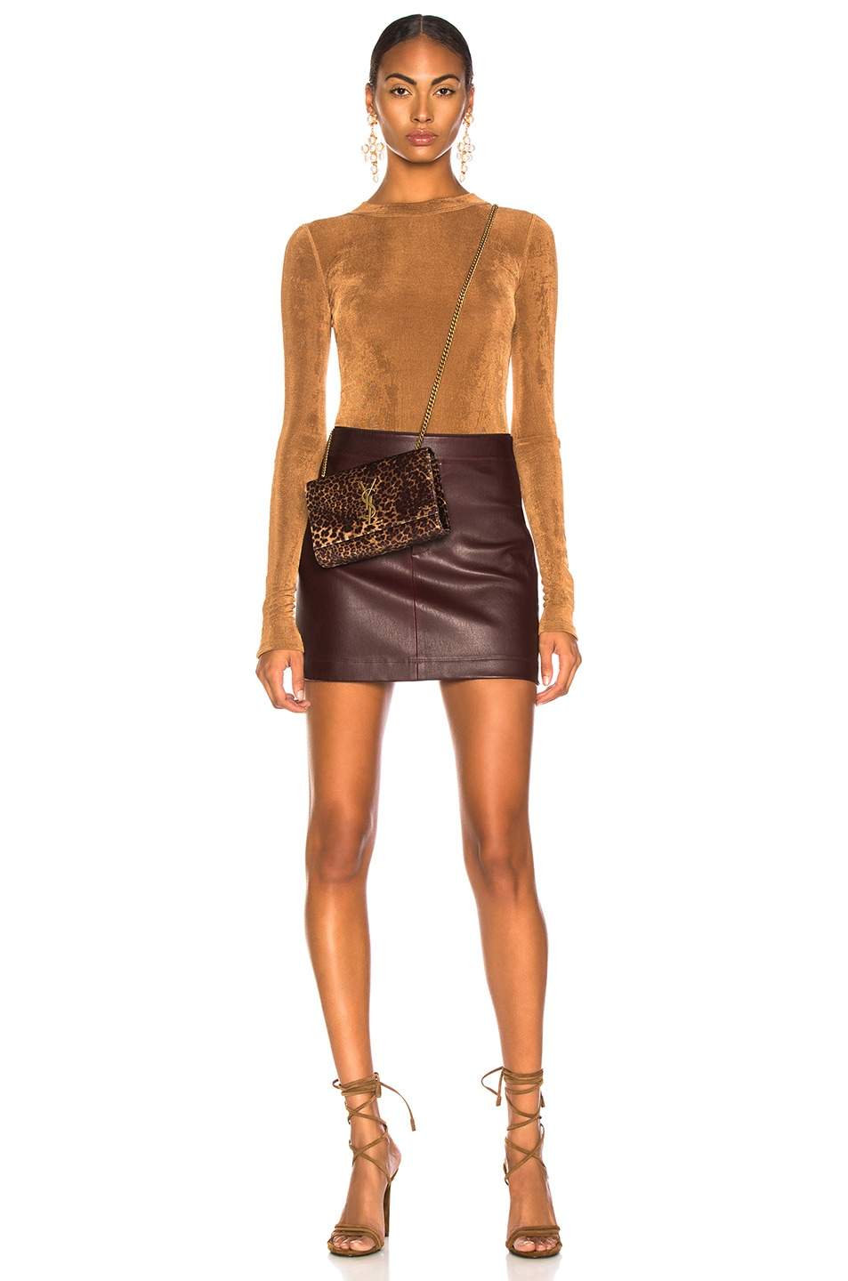 Image 4 of Helmut Lang Stretch Leather Mini Skirt in Wine