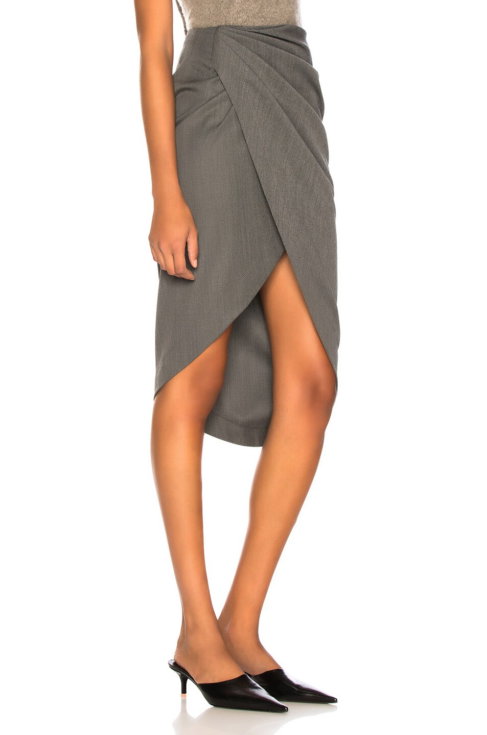 Image 2 of Helmut Lang Draped Wool Skirt in Melange Grey