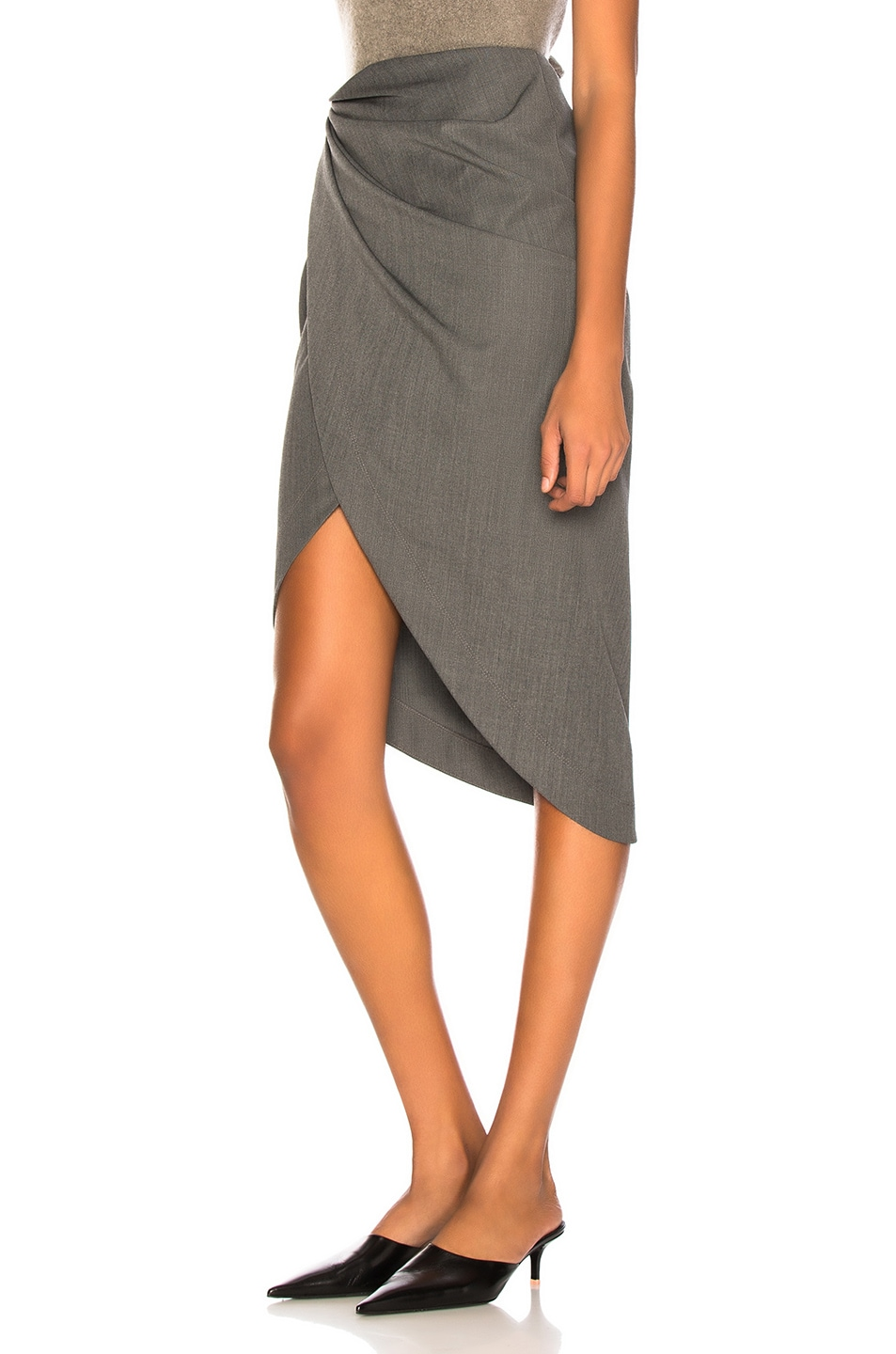 Image 3 of Helmut Lang Draped Wool Skirt in Melange Grey