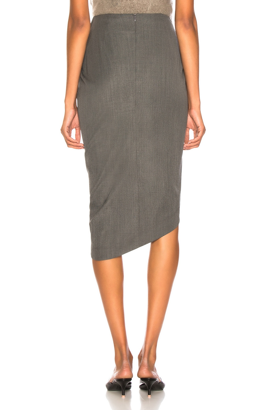 Image 4 of Helmut Lang Draped Wool Skirt in Melange Grey