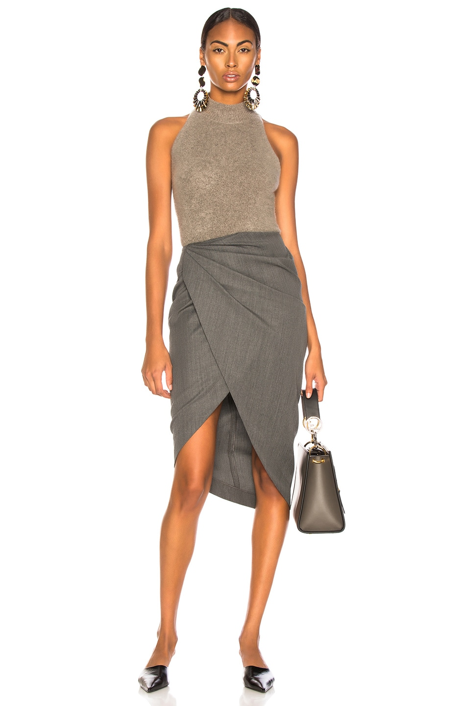 Image 5 of Helmut Lang Draped Wool Skirt in Melange Grey