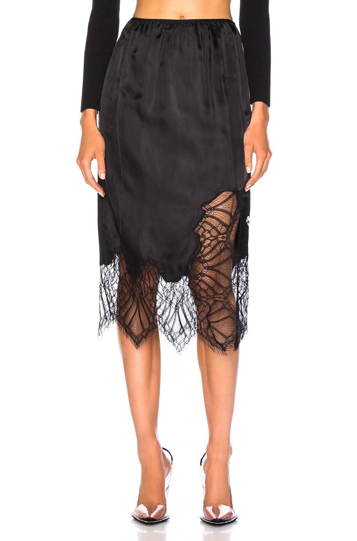 Image 1 of Helmut Lang Lace Slip Skirt in Black