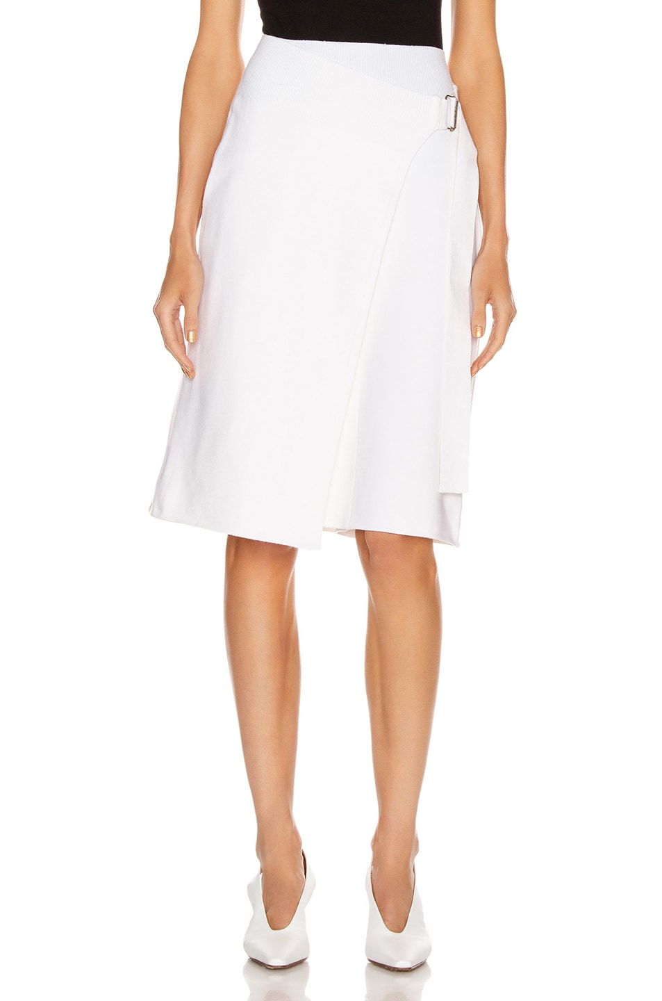 Image 1 of Helmut Lang Compact Wool Skirt in Porcelain