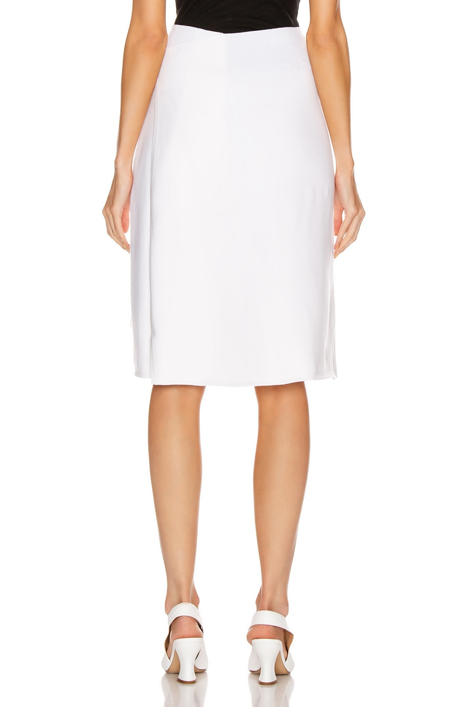 Image 4 of Helmut Lang Compact Wool Skirt in Porcelain