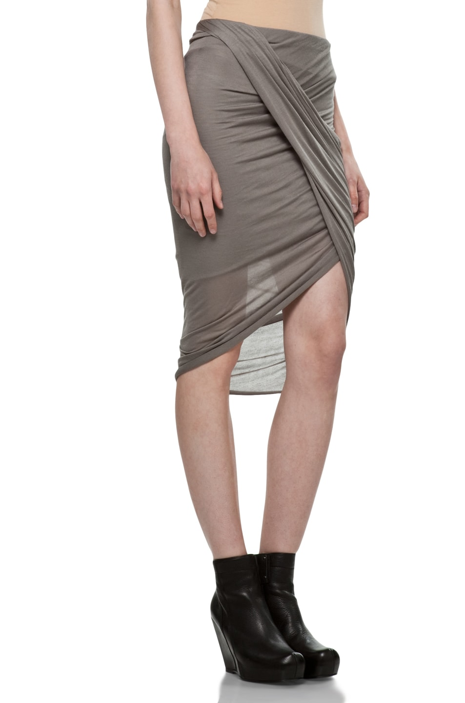 Image 3 of Helmut Lang Front Wrap Skirt in Warm Bronze