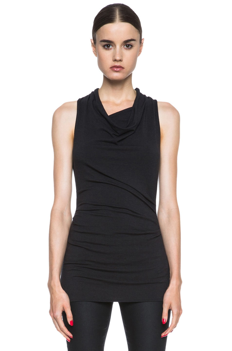 Image 1 of HELMUT Nova Jersey Cowl Drop Top in Charcoal