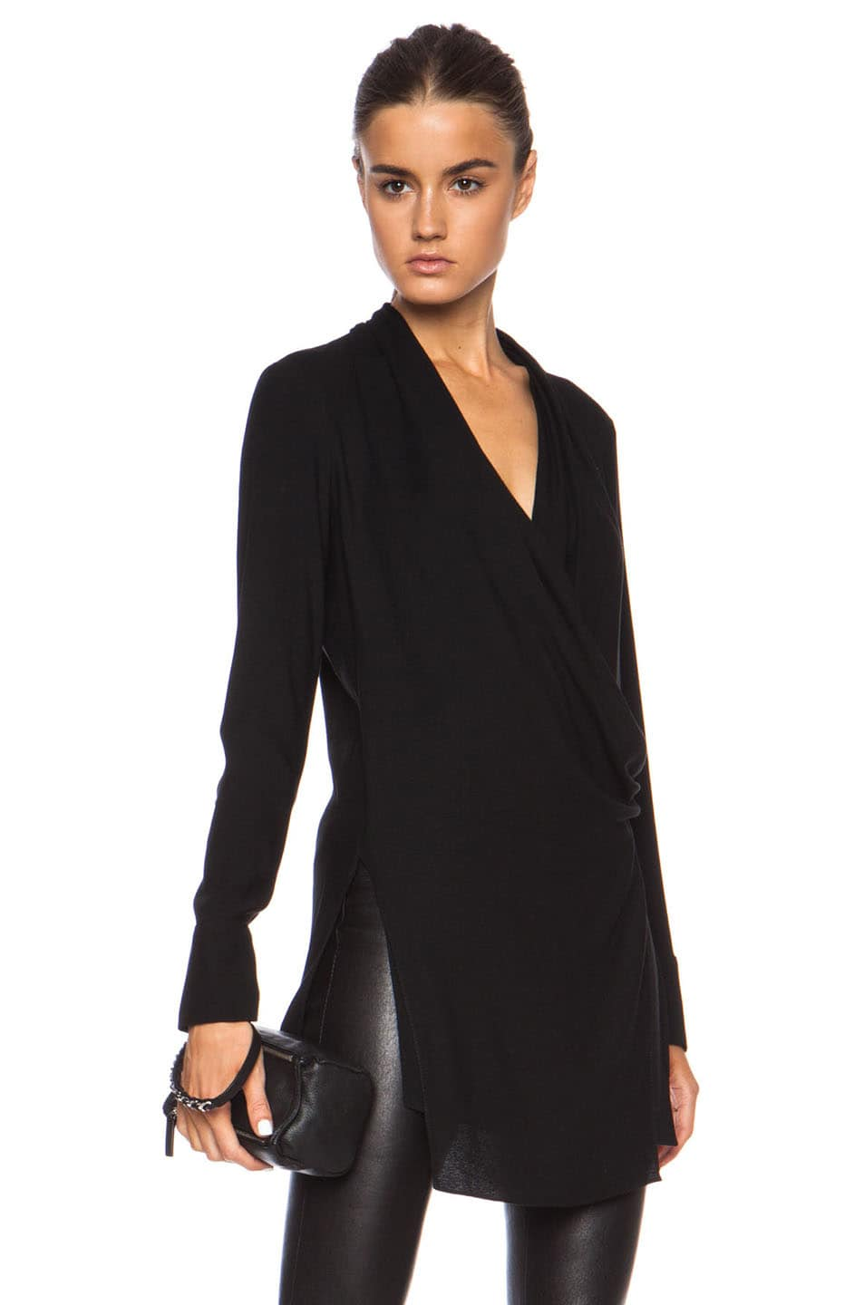 Image 1 of Helmut Lang Fold Over Draped Viscose-Blend Top in Black
