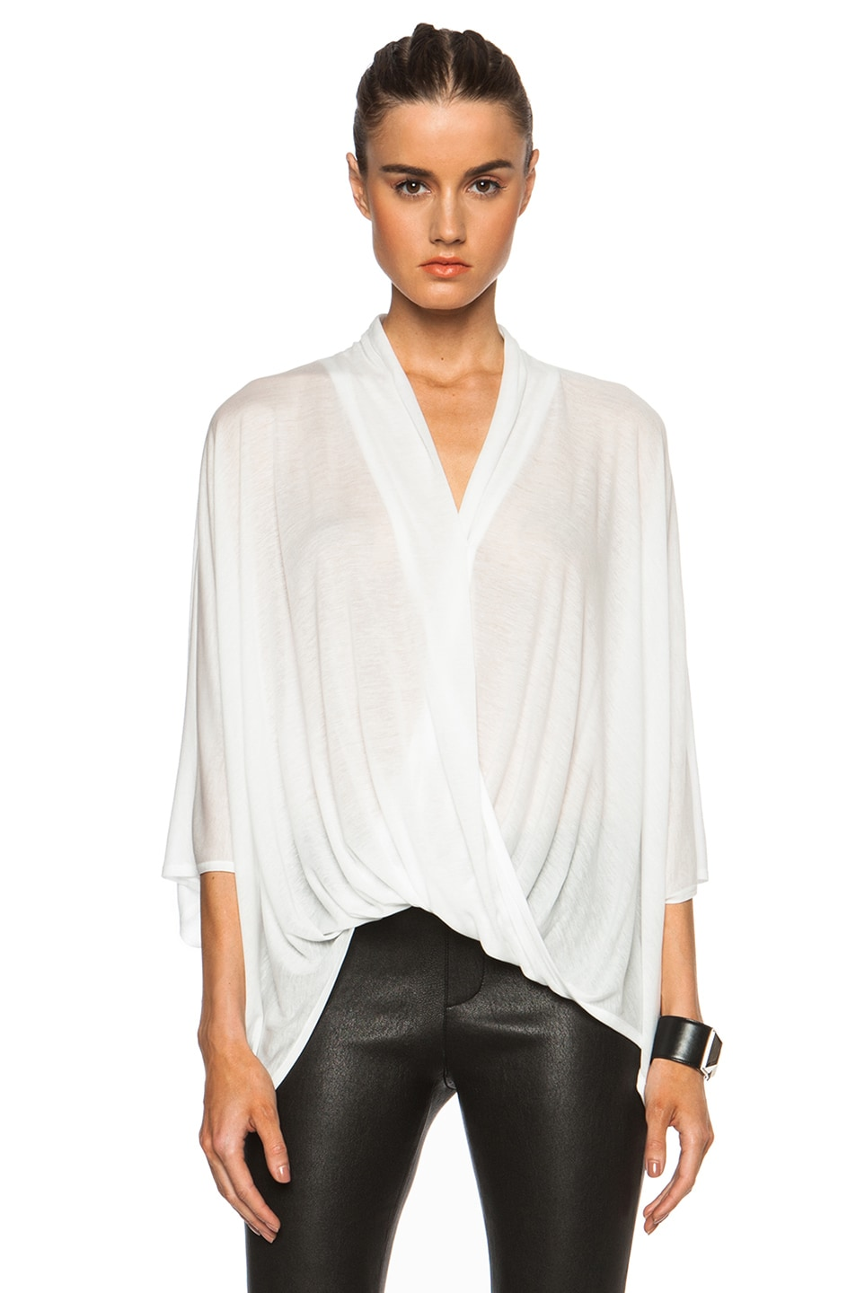 21870c6f657 Image 1 of Helmut Lang Entity Tencel Jersey Asymmetric Top in White