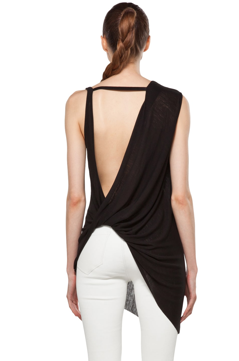 Image 4 of Helmut Lang Twist Back Top in Black
