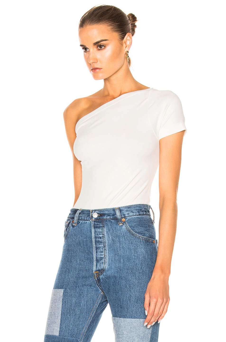 Image 2 of Helmut Lang Asymmetrical Tee in White