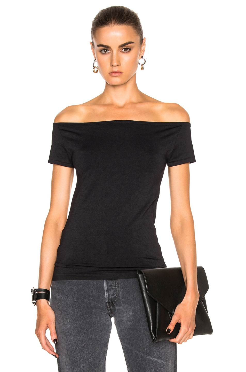 Image 1 of Helmut Lang Open Boat Neck Top in Black
