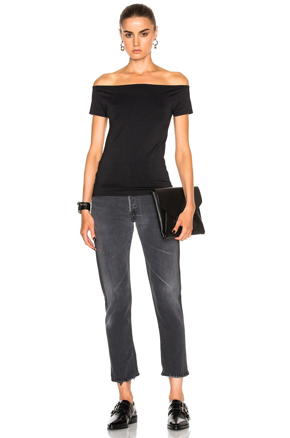 Image 5 of Helmut Lang Open Boat Neck Top in Black
