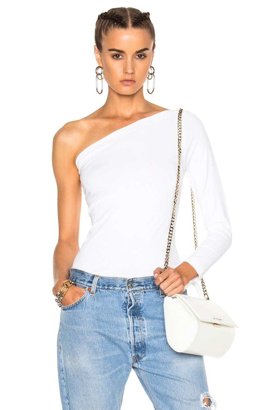Image 1 of Helmut Lang One Shoulder Long Sleeve Top in White